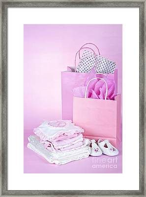 Pink Baby Shower Presents Framed Print by Elena Elisseeva