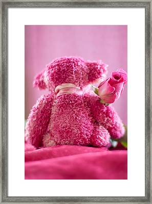 Framed Print featuring the photograph Pink Bear Behind Holding Pink Rose by Ethiriel  Photography