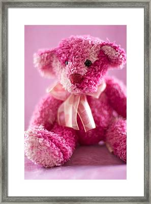 Framed Print featuring the photograph Pink Bear Sat Alone by Ethiriel  Photography