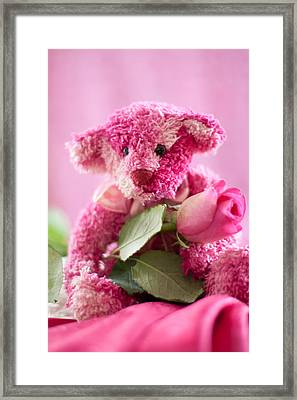 Framed Print featuring the photograph Pink Bear With Rose by Ethiriel  Photography