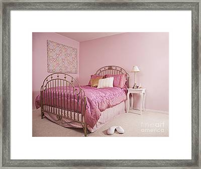 Pink Bedroom Interior Framed Print by Jetta Productions, Inc