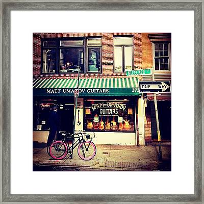 Pink Bicycle - New York City Framed Print