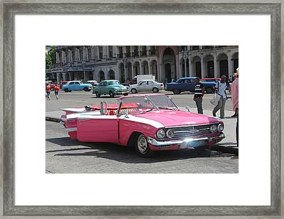 Framed Print featuring the photograph Pink Chevy In Havana by David Grant