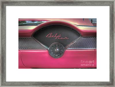 Pink Chevy Bel Air Glove Box And Clockface Framed Print