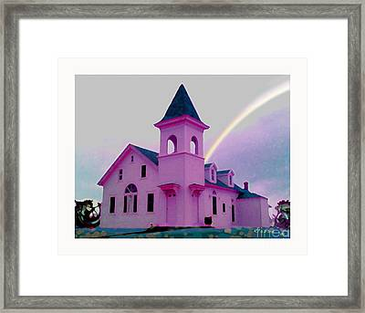Pink Church With Rainbow Framed Print
