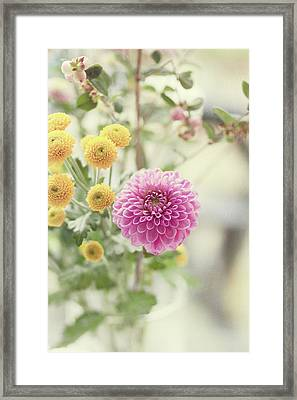 Pink Dahlia In Bouquet Of Flowers And Berries Framed Print
