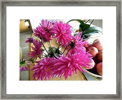 Framed Print featuring the digital art Pink Dahlia by Vicky Tarcau