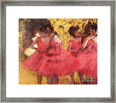 Pink Dancers Before Ballet Framed Print by Pg Reproductions