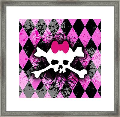 Pink Diamond Skull Framed Print by Roseanne Jones