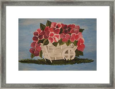 Framed Print featuring the painting Pink Flowers In A Wagon Basket by Christy Saunders Church