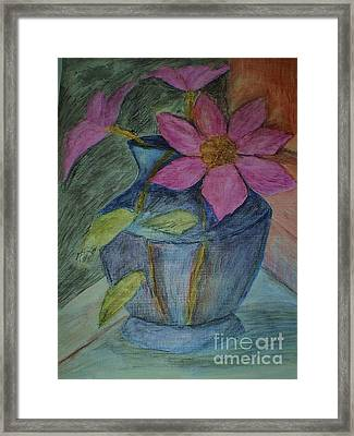 Pink Flowers In Blue Vase Framed Print by Christy Saunders Church