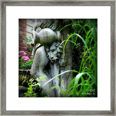 Framed Print featuring the photograph Pink Geraniums And Bacchus by Tanya  Searcy