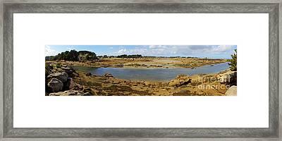 Pink Granite Coast Panorama Framed Print by Heiko Koehrer-Wagner