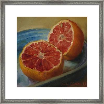 Pink Grapefruit On Blue Vintage Platter Framed Print by Judy Palermo