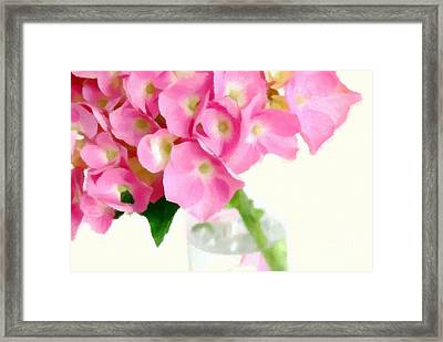 Pink Hydrangea In A Glass Vase Framed Print by Anne Kitzman