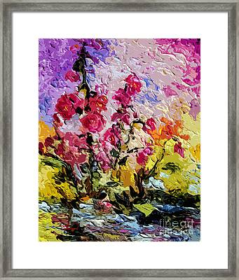Pink Lavatera Framed Print by Ginette Callaway