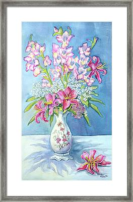 Pink Lillies In A Vase Framed Print