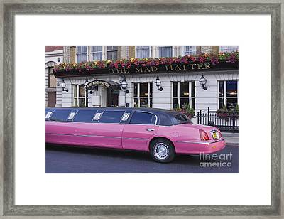 Pink Limo Outside A Pub Framed Print by Jeremy Woodhouse