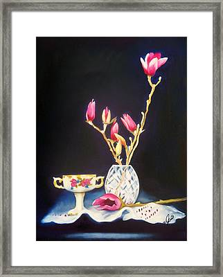 Pink Magnolias Framed Print by Joni McPherson