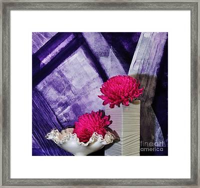 Pink Mums On Purple Framed Print