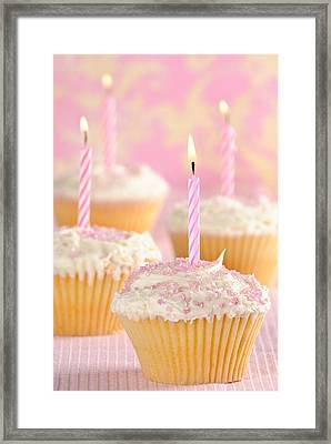 Pink Party Cupcakes Framed Print by Amanda Elwell