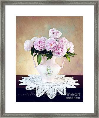 Framed Print featuring the photograph Pink Peonies by Cheryl Davis
