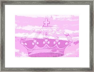 Pink Princess Crown Art Framed Print by ArtyZen Kids