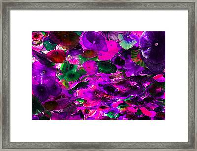 Pink Purple And Green Glass Flowers Framed Print