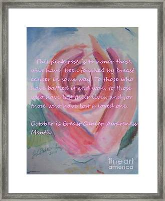 Pink Rose Breast Cancer Awareness Framed Print by Jamey Balester