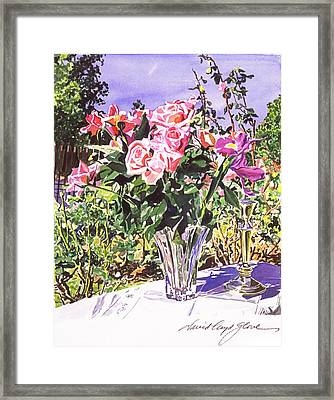 Pink Roses In Crystal Vase Framed Print by David Lloyd Glover