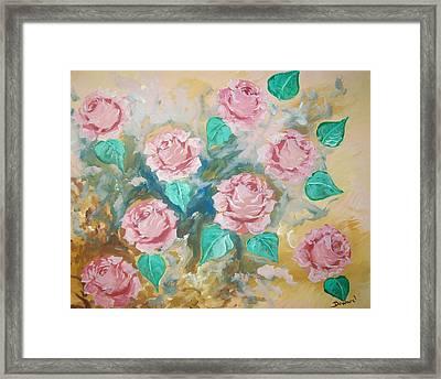 Pink Roses Framed Print by Raymond Doward