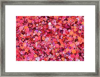 Pink Sequins Of Various Shapes And Sizes Framed Print by Andrew Paterson