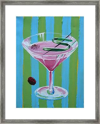 Pink Stripe Martini Framed Print by Michael Baum