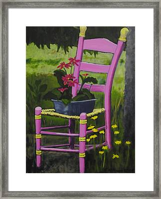 Pink Summer Chair Framed Print by Fran Atchison