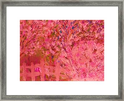 Pink Tree And Fence Framed Print by Anne-Elizabeth Whiteway