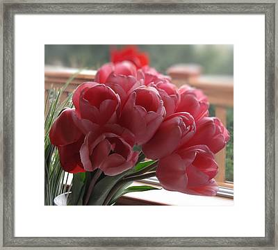 Framed Print featuring the photograph Pink Tulips In Vase by Katie Wing Vigil