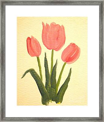 Pink Tulips Framed Print by Leea Baltes