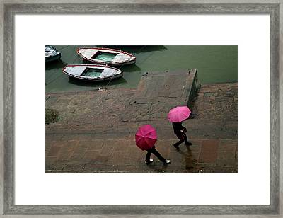 Pink Umbrellas Framed Print by Copyright Soumya Bandyopadhyay Photography
