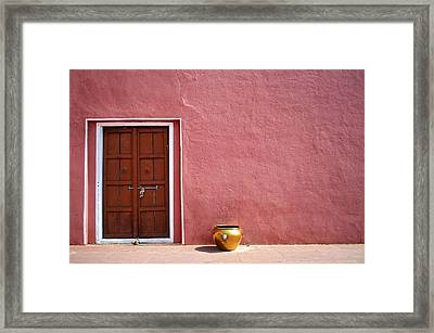 Pink Wall And The Door Framed Print by Saptak Ganguly
