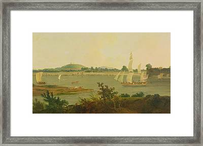 Pinnace Sailing Down The Ganges Past Monghyr Fort Framed Print by Thomas Daniell
