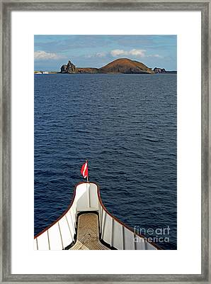 Pinnacle Rock Viewed From Sea Framed Print by Sami Sarkis