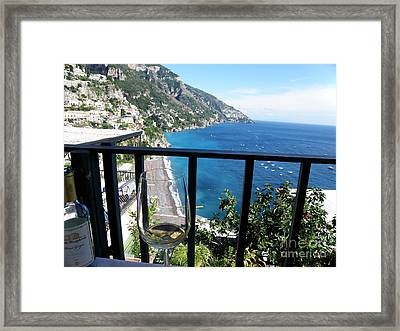Pinot Grigio In Positano Framed Print by Tanya  Searcy