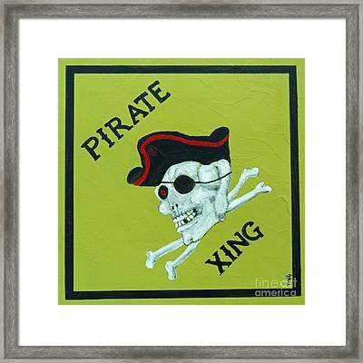 Framed Print featuring the painting Pirate Crossing Beware by Doris Blessington