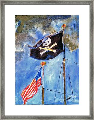 Framed Print featuring the painting Pirate Flag Over Savannah by Doris Blessington