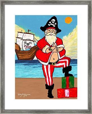 Pirate Santa Framed Print