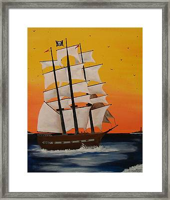 Pirate Ship At Dawn Framed Print by Paul F Labarbera