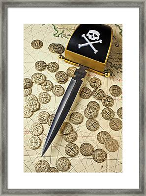 Pirate Sword And Gold Coins On Old Map Framed Print by Garry Gay