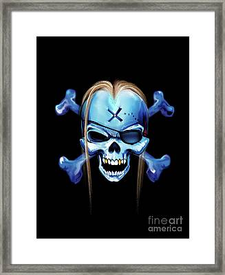 Framed Print featuring the drawing Pirate X by Brian Gibbs