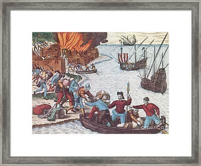 Pirates Burn Havana, 1555 Framed Print by Photo Researchers