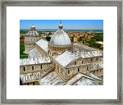 Pisa Cathedral From The Leaning Tower Framed Print by Gregory Dyer